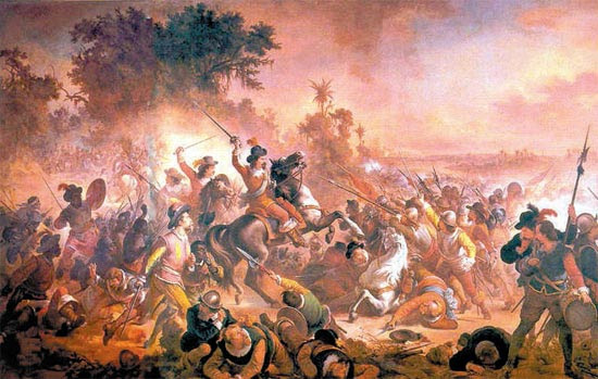 """""""A Batalha dos Guararapes"""" (1879), de Vítor Meireles, narra a formação mítica de um Exército multirracial que lutou contra os holandeses em 1648-49"""