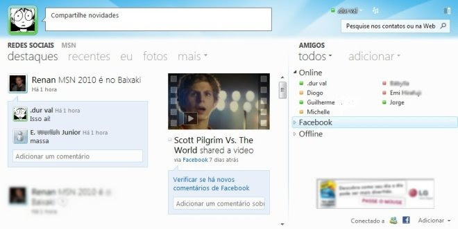 Interface moderna do MSN