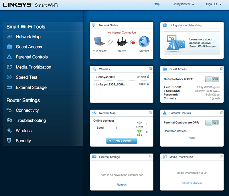 Linksys' Smart Wi-Fi user interface offers just the right blend of controls and ease of use.