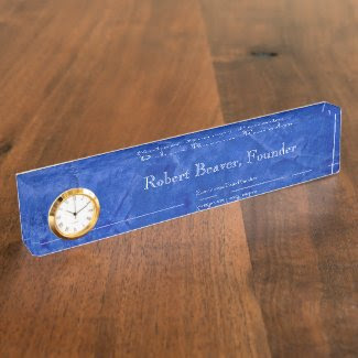 Tuscan Blue Desk Nameplate With Clock