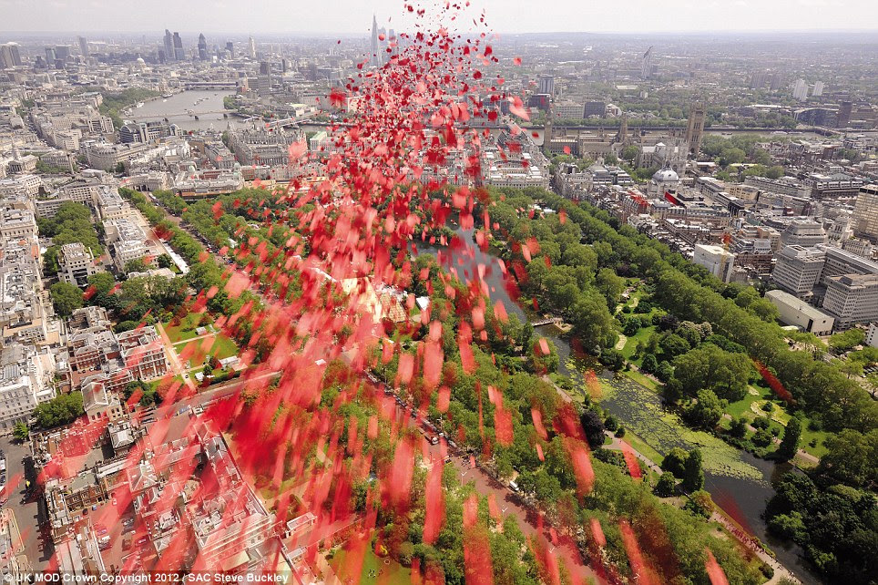 Let go: A poppy drop over the unveiling of the Bomber Command War Memorial in Green Park offers amazing views across central London
