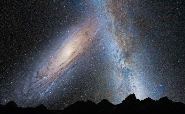 Artist's illustration of the Andromeda galaxy and the Milky Way merging, based on data from the Hubble Space Telescope. Credit: NASA