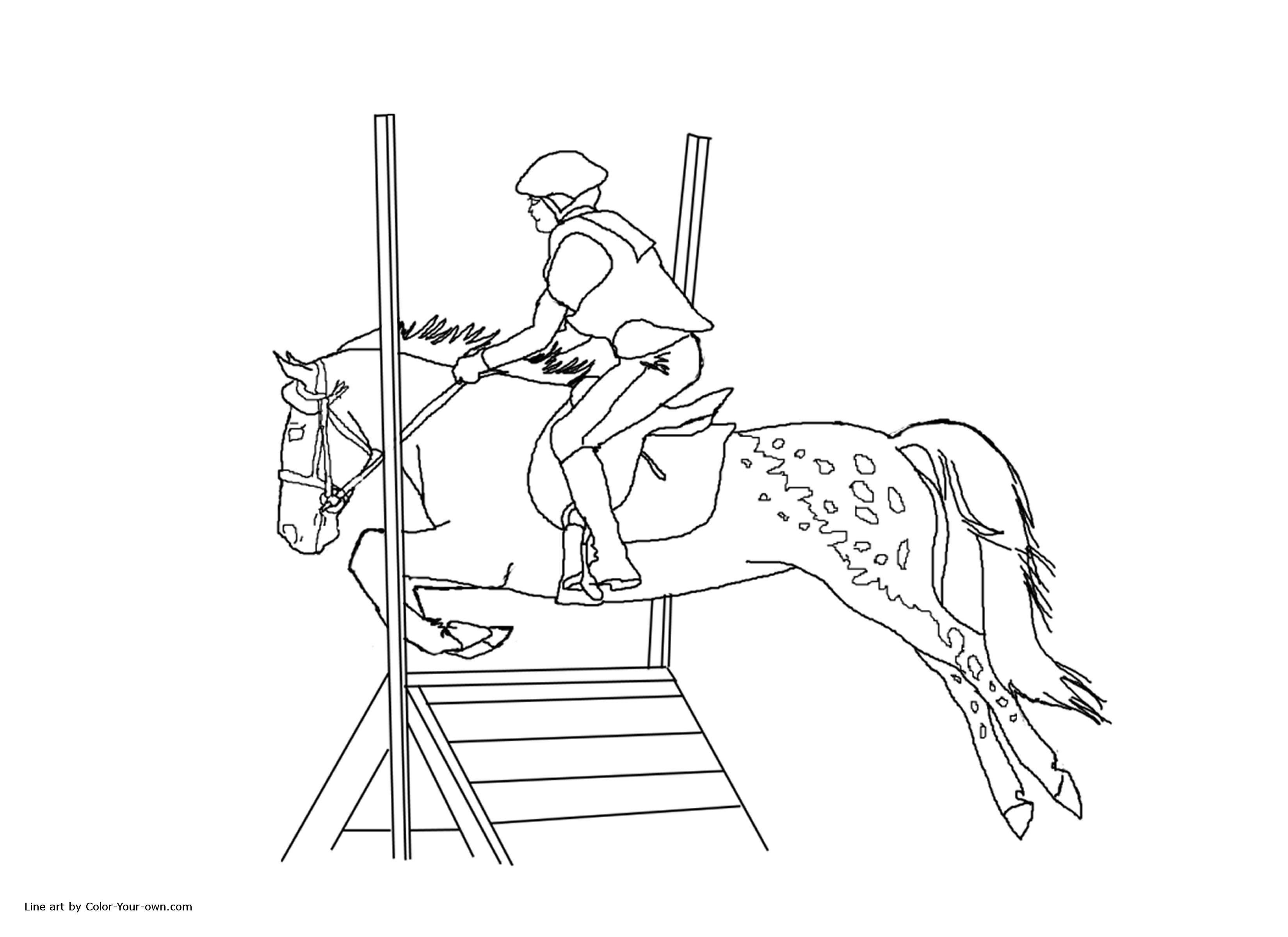 Girl And Horse Jumping Coloring Pages - Coloring Home