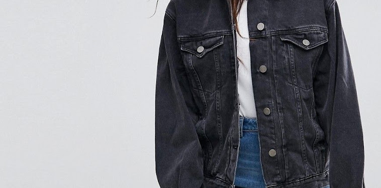 Womens Casual Black Denim Jacket Outfit