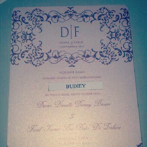 Tq Farid Kamil & Diana Danielle kerana sudi menjemput budiwy.com ke majlis Nikah. Semoga selamat semuanya.