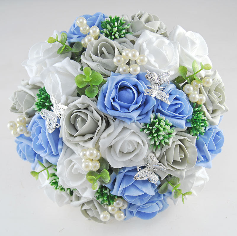 Brides Light Blue White Grey Rose Gyp Pearl Butterfly Wedding Bo Budget Wedding Flowers