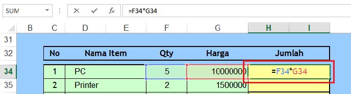 Cara Menuliskan Formula Rumus Microsoft Excel Belajar Microsoft Excel