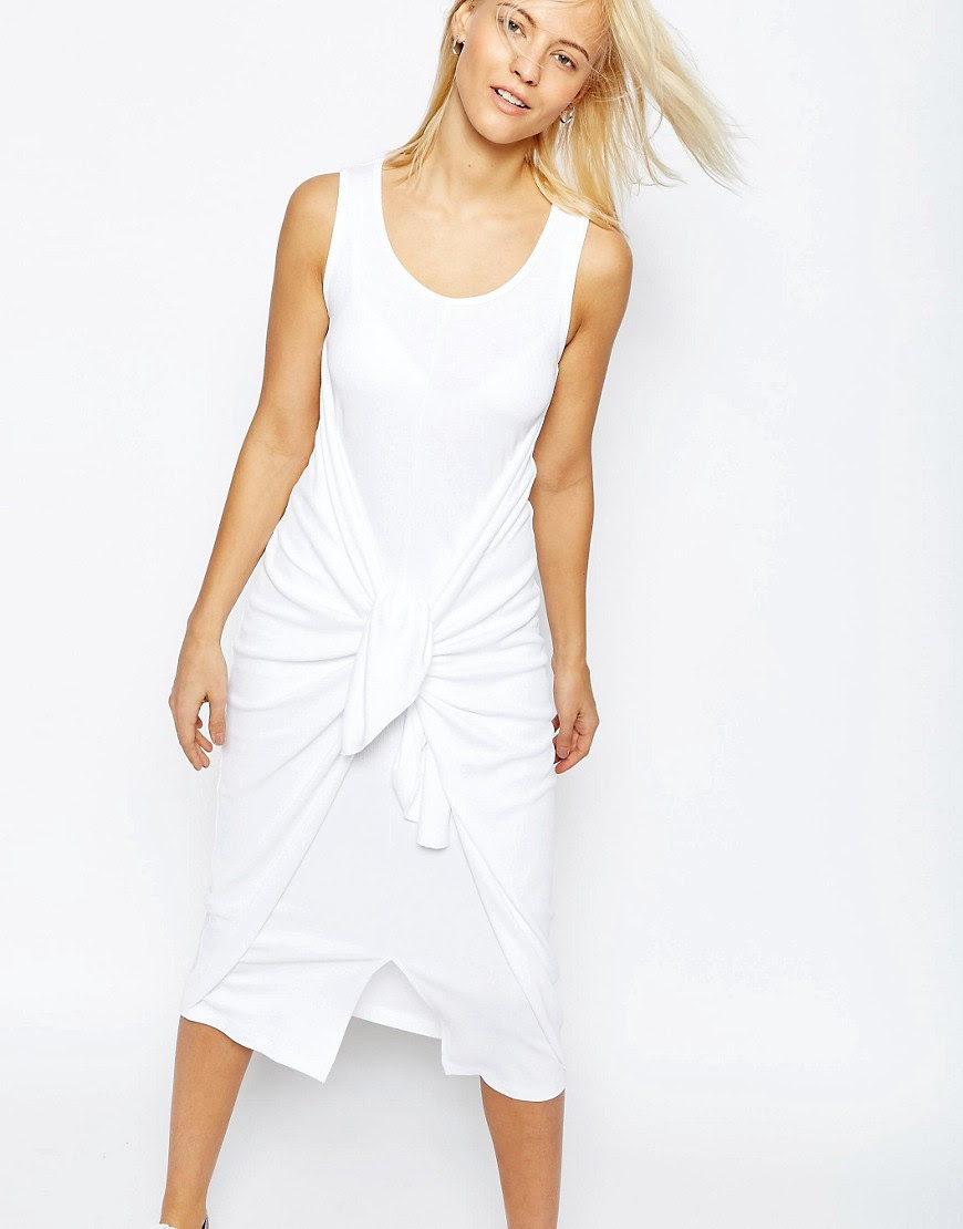 Image 1 of ASOS Rib Dress With Tie Front