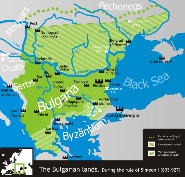 carte du premier royaume de Bulgarie a son apogee