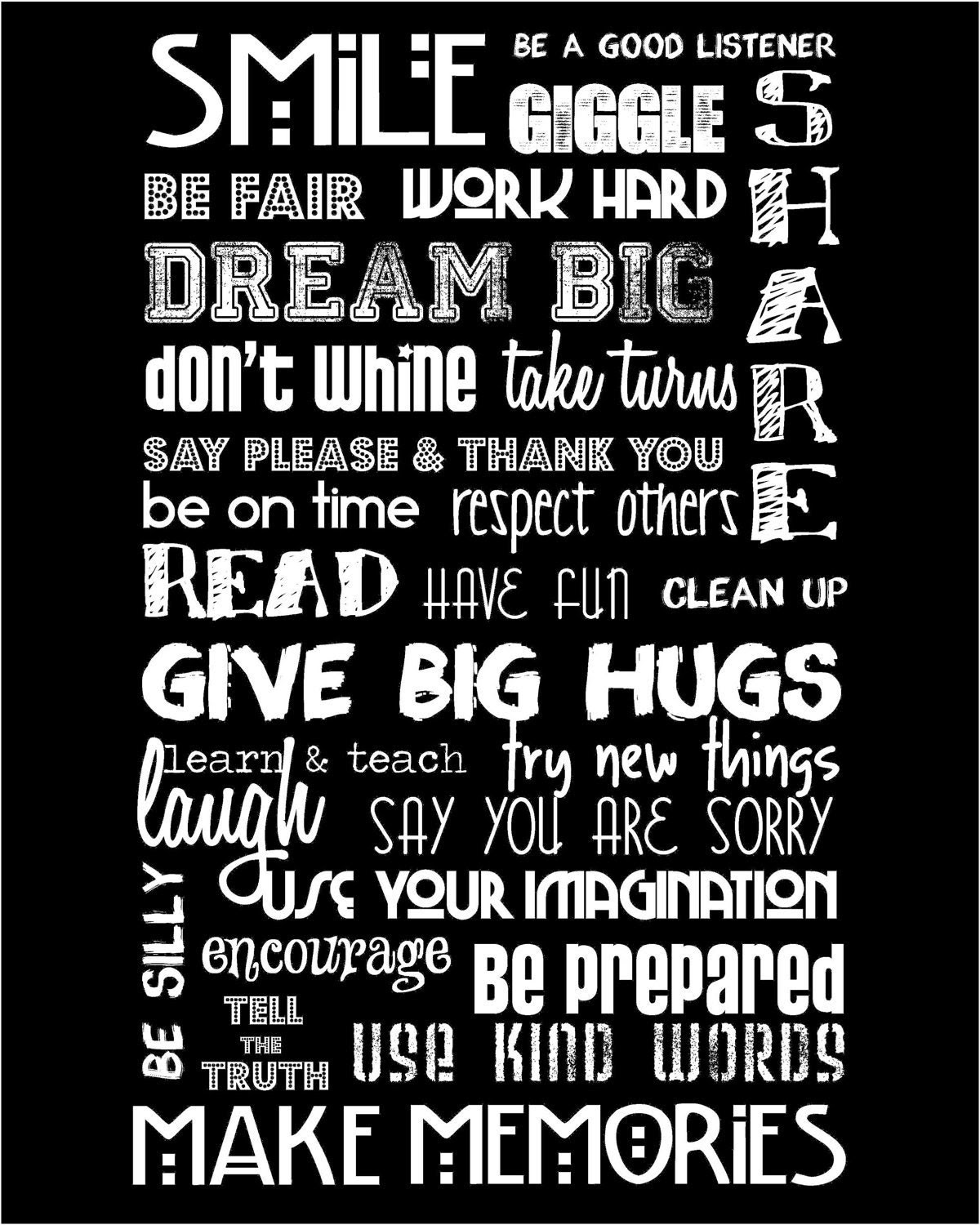 "Classroom Rules - Black and White - 11x14""  A PERFECT TEACHER GIFT"