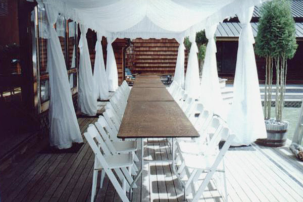 White Floors Party Ideassheer Outdoor Draping
