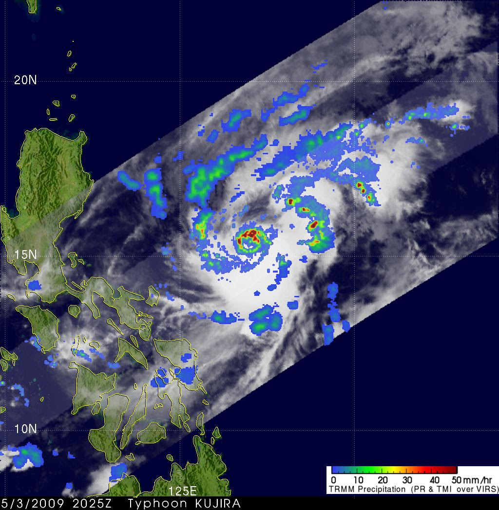 Satellite view of typhoon Dante (Kujira) exiting in the Philippines