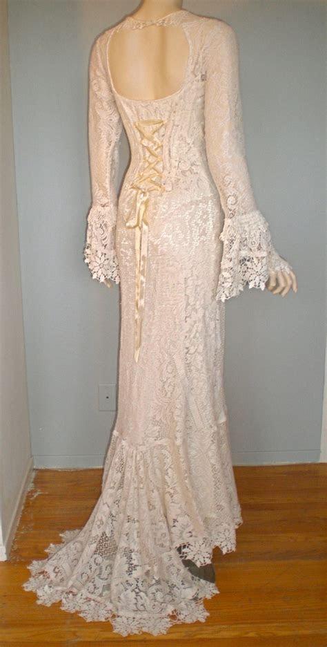 Corset Back Victorian Antique Crochet LACE Wedding Gown