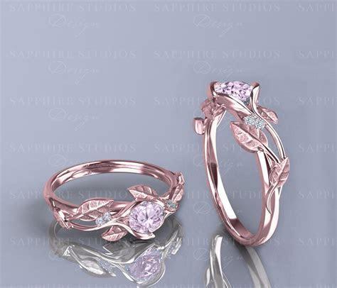 'Ivy Fleur' 0.70ct Morganite Gold Flower Vine Engagement Ring