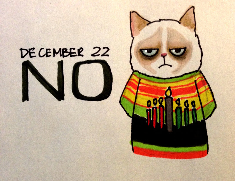 Grumpy Cat in Holiday Sweater, Kwanzaa