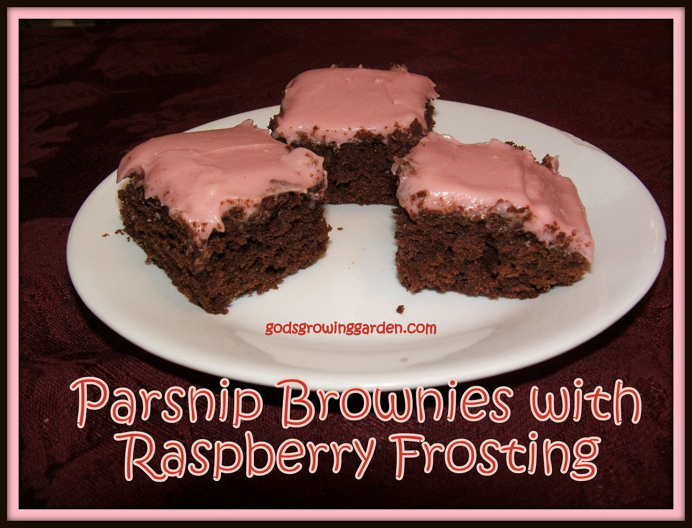 Parsnip Brownies with Rasp, by Angie Ouellette-Tower for godsgrowinggarden.com
