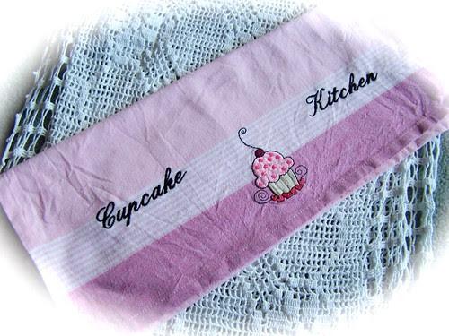 A cupcake tea towel.