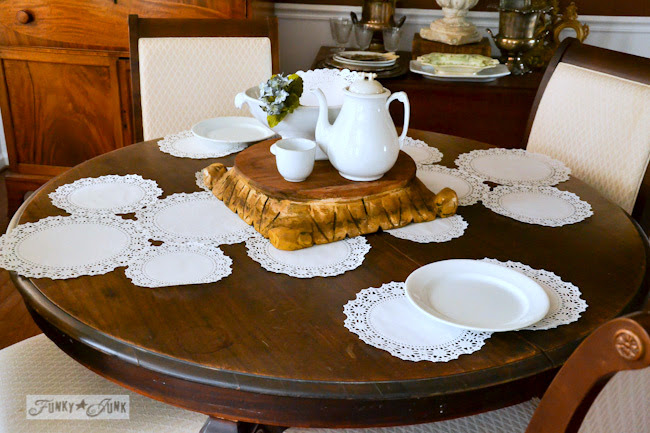 Karen - The Graphics Fairy's house - doilies on diningroom table