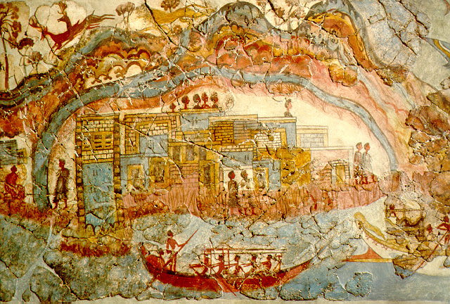 Bronze age fresco from Aktrotiri in Thera (Santorini)(Wikimedia Commons)