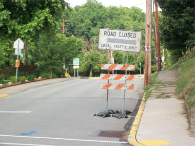 Road Closed sign at south end of reconstruction
