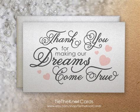 Thank You For Making Our Dreams Come True, Thank You Card