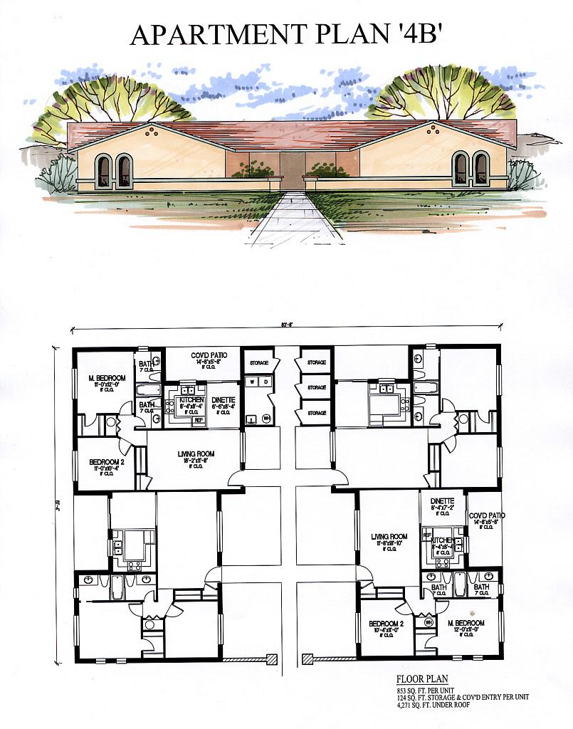 2 Story 4 Unit Apartment Building Plans - minimalist ...