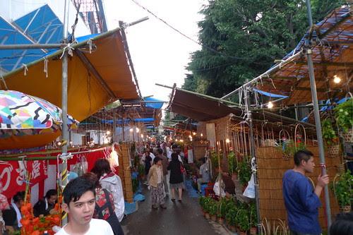 Lines of ground cherry pod stalls during hozuki ichii