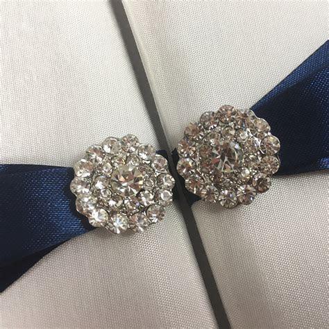 White Invitation Folder With Navy Blue Bow & Crystal