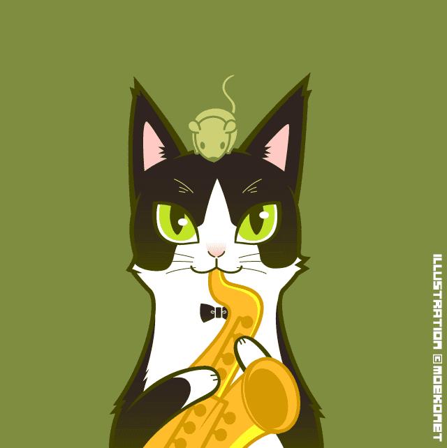 動物イラストno223動物とジャズ猫the Cat イラスト制作moekonet