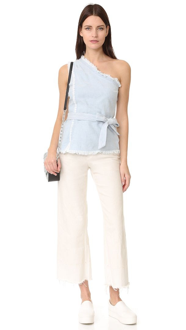 Le Fashion Blog Must Have One Shoulder Chambray Raw Hem Top Via Shopbop