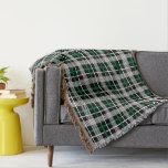 Green, Black and White Plaid Pattern Throw Blanket