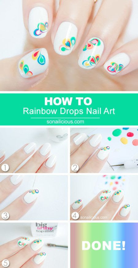Rainbow Drop Nail Tutorial for Peace by #Sonailicious  #nailart #nails #polish #white - bellashoot.com
