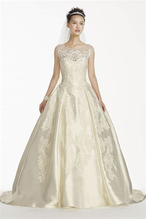 Oleg Cassini Cap Sleeve Mikado Wedding Dress Style CWG701
