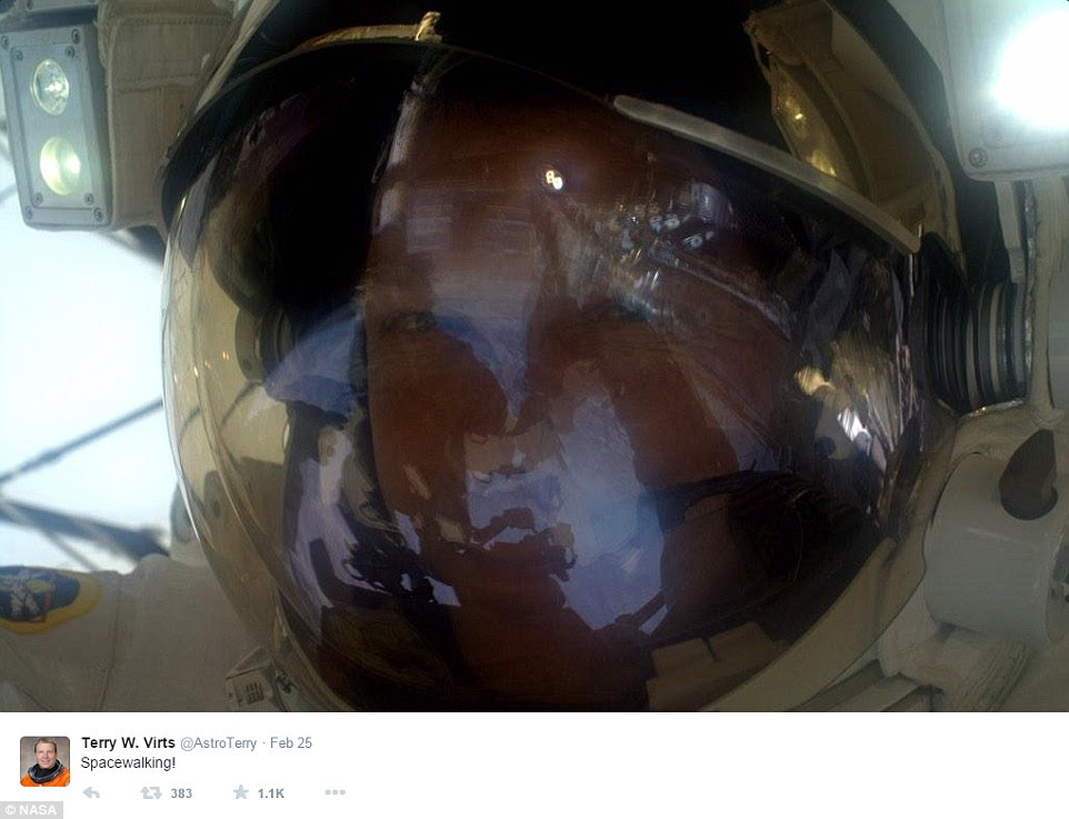 A space selfie taken during an earlier spacewalk on February 25th. Nasa said a small amount of water got into American astronaut Terry Virts helmet once he was back in the air lock and the chamber was being repressurised