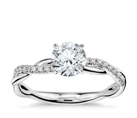 Petite Twist Diamond Engagement Ring in 14k White Gold (1