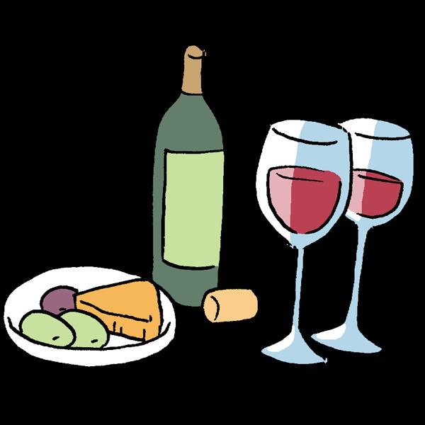 ワインとチーズとオリーブのイラスト かわいいフリー素材が無料の