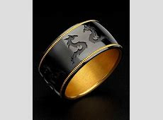 Zoltan David Black Knightsteel Pure Gold Inlay and Insleeve Unique Men's Ring   Unique mens