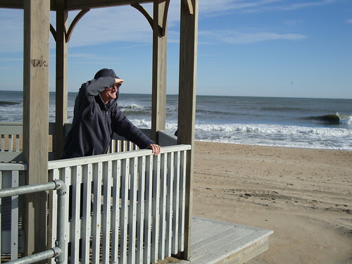 Dad looks out to the beach