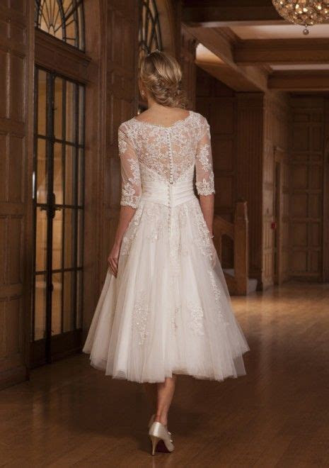 tea length long sleeves lace wedding dress http://www