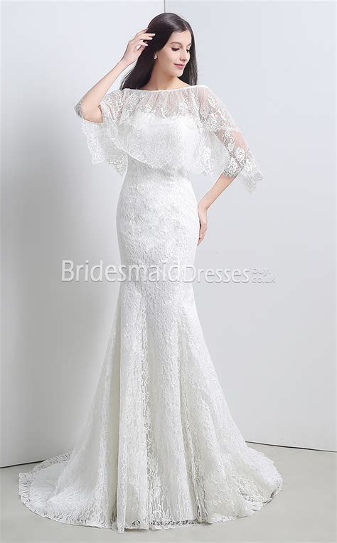 Lace and Tulle and Chiffon Floor length Mermaid Off the