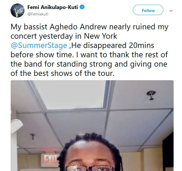 Femi Kuti And Sister Call Out Band Member Who Ran Away In The U.S