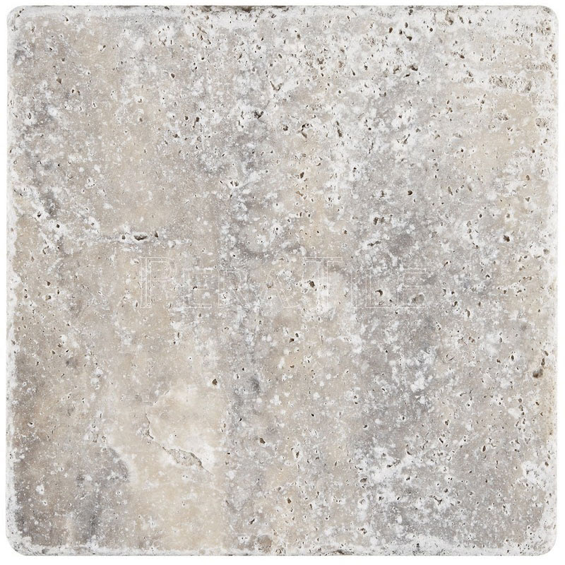 Hun Silver 6x6 Tumbled Travertine Tile Pera Tile