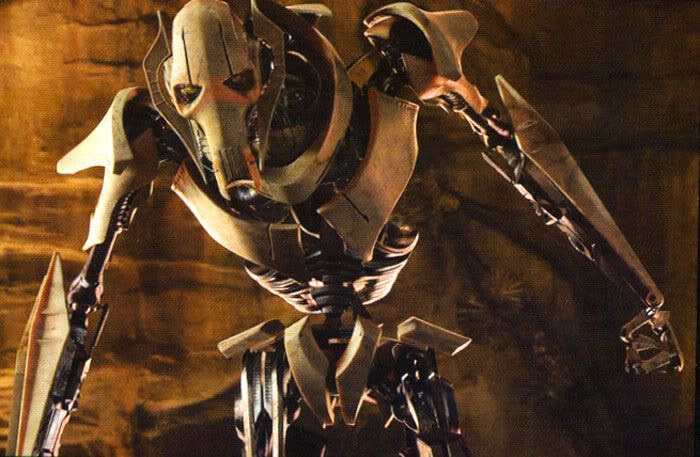 General Grievous ready to fight Obi-Wan on the sinkhole planet of Utapau.