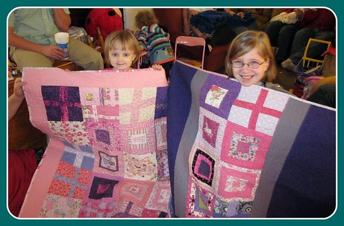 Rosemarie & Katee with their quilts