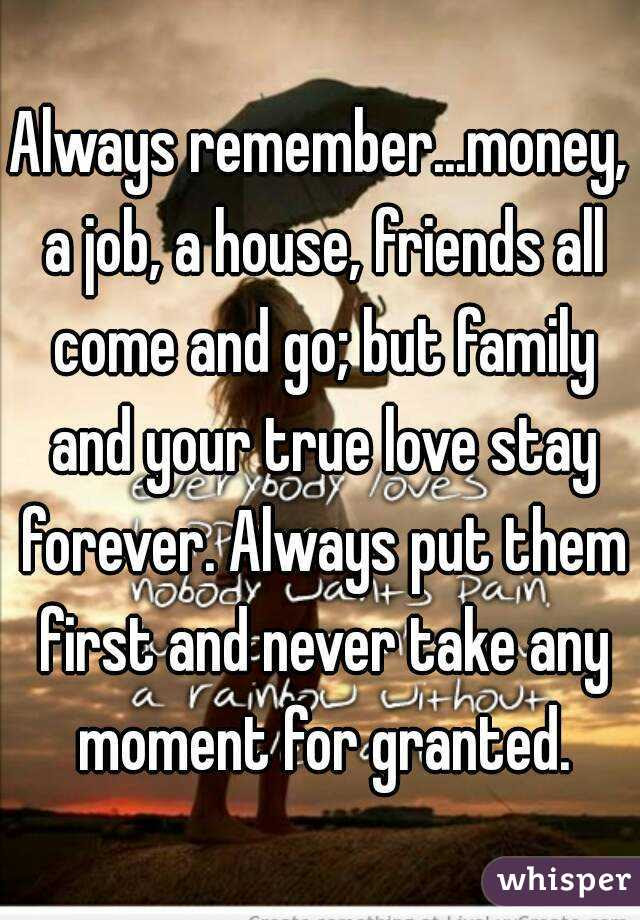 Always Remembermoney A Job A House Friends All Come And Go