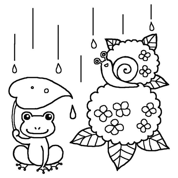 カエルとでんでん虫アジサイ白黒梅雨6月の無料イラスト夏の季節