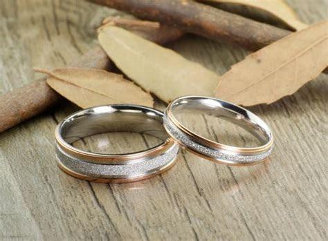 Handmade Rose Gold Matching Wedding Bands, Couple Rings