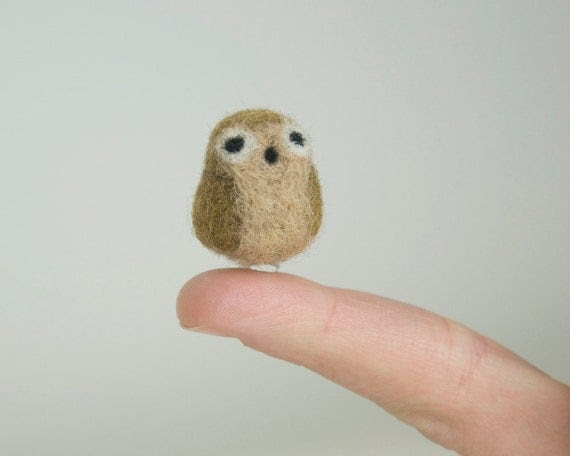 Cyber Monday Free Shipping Miniature Needle Felted Cappuccino Brown Pocket Owl with a Widow's Peak