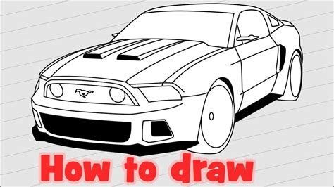 draw  car ford mustang gt