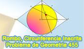 Problema de Geometría 455 (ESL): Rombo, Circunferencia Inscrita, Cuerda, Angulo de 45 grados.